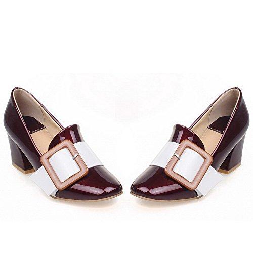 AllhqFashion Damen Gemischte Farbe Lackleder Mittler Absatz Quadratisch Zehe Pumps Schuhe Rot