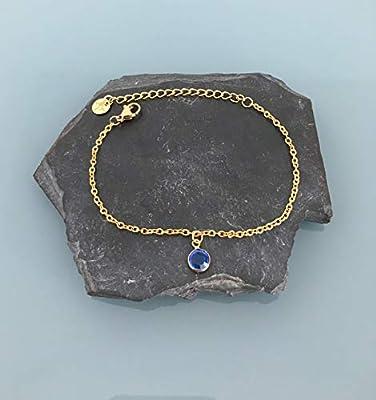 Bracelet swarovski, Bracelet femme gourmette pierre bleue plaqué or 24 k, bracelet doré, idée cadeau, bracelet saphir, bijoux cadeaux, bijou femme or