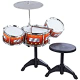 Bestie Toys Jazz Drum Set With Chair - Music Toy Instrument For Kids - 8 Pc Multi Color