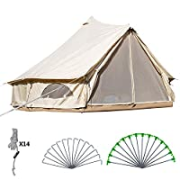 BuoQua Bell Tent Canvas Tent with Stove Hole Cotton Canvas Tents Yurt Tent for Camping 4-Season Waterproof Bell Tent for Family Camping Outdoor Hunting 21