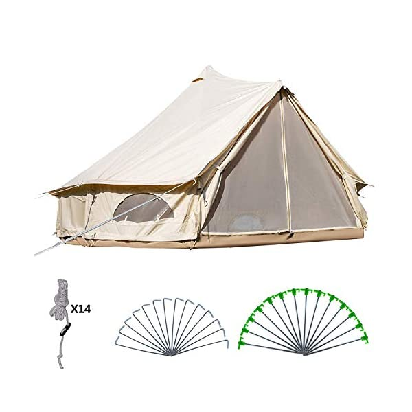 BuoQua Bell Tent Canvas Tent with Stove Hole Cotton Canvas Tents Yurt Tent for Camping 4-Season Waterproof Bell Tent for Family Camping Outdoor Hunting 1