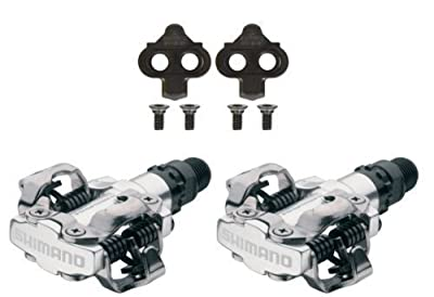 "Shimano PDM520 Clipless SPD Bicycle Cycling Pedals SILVER ""With Cleats"" by Shimano"