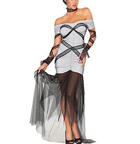 DuuoZy Frauen Sexy Lace up Bodycon Kleider Cosplay Clown Verspielt Bühnenkostüm , white , (Korsett Clown)