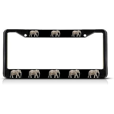 Reale Elefante in metallo nero resistente Targa Tag Frame Border