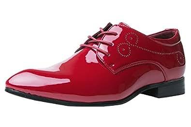 2228d0ff5a5006 Santimon Herrenschuhe Herren Derby Schnürhalbschuhe Business Schnürer  Halbschuhe Klassischer Schuhe Männer Rote 45 EU