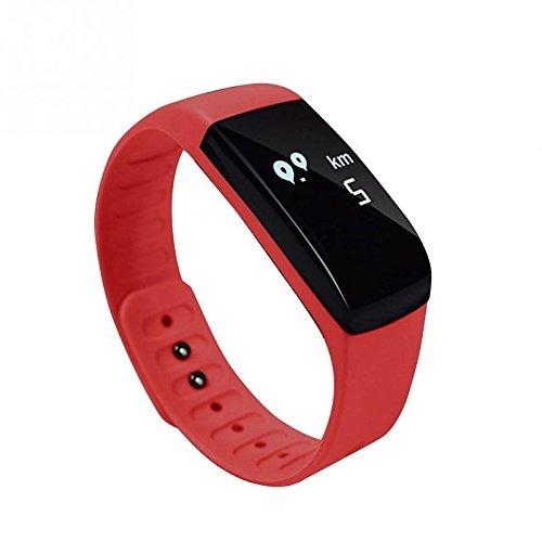 Galleria fotografica Lemumu UP8 Smart Watch Bracciale banda Record di traiettoria dormire Sport Contapassi Orologio intelligente per Andriod/IOS Smart Phone,rosso