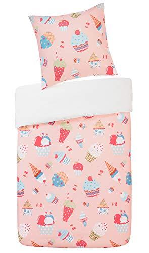 SCM Kinder Bettwäsche 135x200cm Rosa 100% Baumwolle 2-teilig Bettbezug Kopfkissenbezug 80x80cm mit bunten Cupcakes & Eiscreme Renforcé Mädchen Jugendliche Teenager Kinderbett