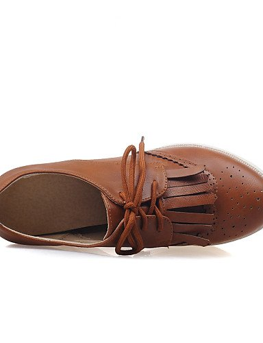 ZQ hug Scarpe Donna - Scarpe col tacco - Formale - Punta arrotondata - Zeppa - Finta pelle - Nero / Marrone / Rosso / Bianco / Dorato , brown-us8 / eu39 / uk6 / cn39 , brown-us8 / eu39 / uk6 / cn39 white-us8 / eu39 / uk6 / cn39