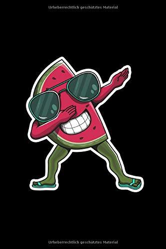 Notizbuch: Wassermelone Melone Dabbing A5 liniert Notebook I Sommer Journal I Geschenk für den Urlaub Strand I Tanzende Frucht mit Sonnenbrille