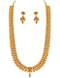 Jfl - Jewellery For Less Traditional Ethnic One Gram Gold Plated Kaerie Long Necklace Set With Earring For Women