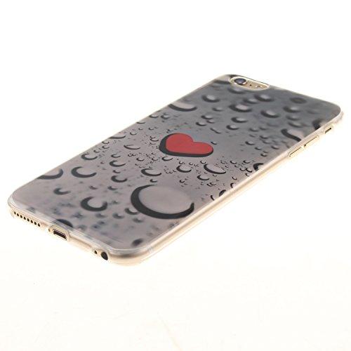 CaseHome iPhone 6 Plus/6S Plus 5.5'' TPU Silikongel Hülle Prämie Weich Ultra Dünnen TPU Abdeckung Stoßstange Gummi Mode Schönheit Muster Gedruckt Entwurf (Mit Frei Schirm-Schutz) Stoßfest Haut Schale  Rotes Herz Regentropfen