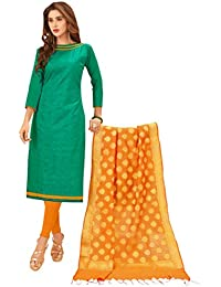 Women'S Green Semi Stitched Embroidered Glaze Cotton Dress Material