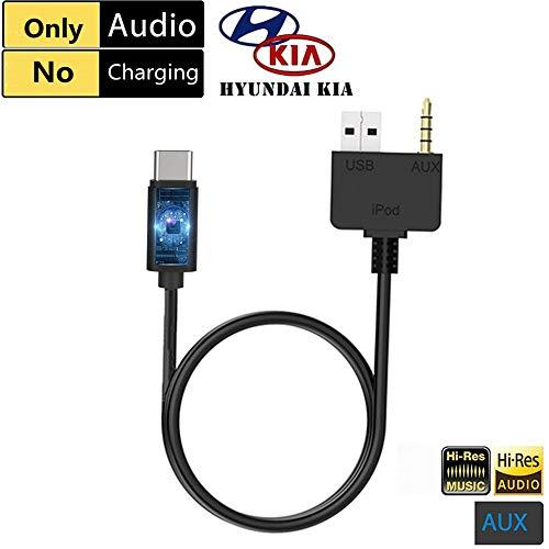 Aux-Kabel zu USB-C-Adapter für KIA, Hyundai, kompatibel mit Pixel 2 XL HTC U11/U12+ Samsung S9/S8/N8 Moto Z2 OnePlus 5 LG V30 (nur AUX, kein Aufladen) - Forte Koup Kia 2011