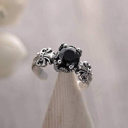 Katylen S925 Sterling Silber Ring Retro Handwerk Drachen Klaue Schwarz Zirkon Öffnung Ring, Schwarzer Onyx, Öffnung einstellbar -