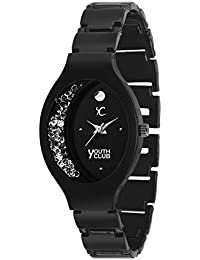 Youth Club CH-BLKOVL-67 New Black Half Moon Moving Stone Dial Watch For Girls