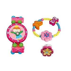 BINO 3 TLG. Set Holzschmuck Mädchenschmuck Kinderschmuck Motiv Blume Rosa – Armband Armbanduhr Ring