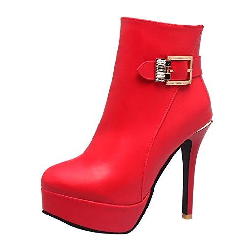 n Plateau Stiletto High Heels Ankle Boots mit Schnalle und Reißverschluss Elegante Fashion Schuhe (Klassische Halloween-kostüme 2017)