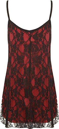 WearAll - grande donna poposh Chiffon Sheer Gefüttert Strappy senza maniche Vest sull'altalena - 12 colori - dimensioni 40-58 Black Red