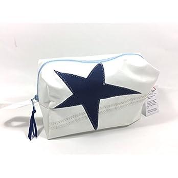 Segeltuch Kulturtasche mit dunkelblauen Stern groß