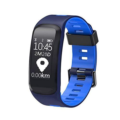 ZHAO YING Herzfrequenz Blutdruck Blutsauerstoff Das Wetter Höhe Luftdruck UV-Licht Intelligente Sport Armband (Color : Blue)
