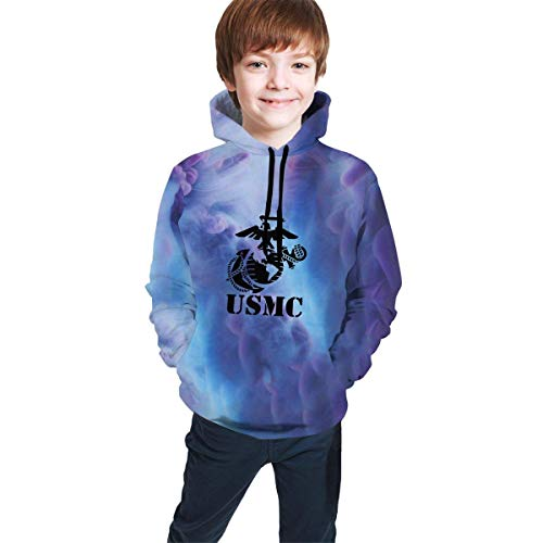 Hidend Kinder Kapuzenpullover Sweatshirt, USMC Marine Hip-Hop Sweatshirts Pullover Winter Autumn Tops for Teen Girls Boys