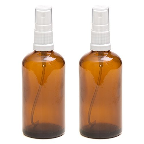LOT de 2 - Flacons en verre AMBRE 100 ml avec spray ATOMISEUR blanc. Utilisation pour les huiles essentielles / et en aromathérapie