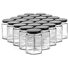 SHiZAK - Botes de tarro hexagonales con tapas negras, tarro transparente para mermelada, miel