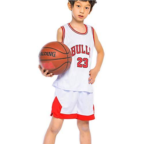 CYGG Kinder Jungen Chicago Bulls Michael Jordan # 23 Trikot Set - Kinder Jungen Mädchen Retro Basketball Trikots Basketball Uniform Sommer Anzüge Kits Top + Shorts-White-S(120-130CM)