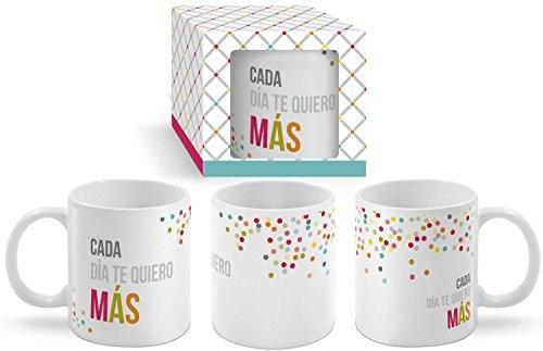 Taza Cerámica para Desayuno en Color Blanco de 300 ml, Un Regalo Original para Enamorados y Románticos -