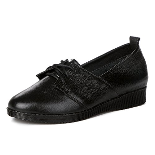 Frühling Herbst Damen Schnürsenkel Runde Zehen Gummi Sohle Flache Einfache Sneakers Halbschuhe Schwarz