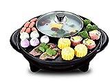 GZ Hot Pot Coreano Barbecue Doppia Pentola, Fornello Integrato, Pentola Elettrica Calda Elettrico Barbecue Teglia da Forno Elettrico,A,1