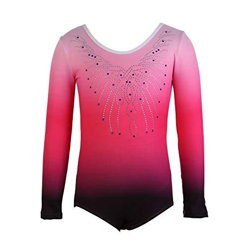 Hougood Turnanzug für Mädchen Ballett Leotards Bodysuit Streifen Diamant Tanzkleidung Gymnastik Overalls Tanz Kostüme Alter 3-14 Jahre alt (F#Rosa, Etikett 8(7-8 Jahre - Rosa Bodysuit Kostüm