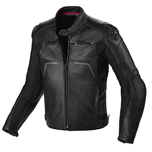 Spidi Carbo Rider CE-geprüft Leder Sport Motorrad Jacke–schwarz