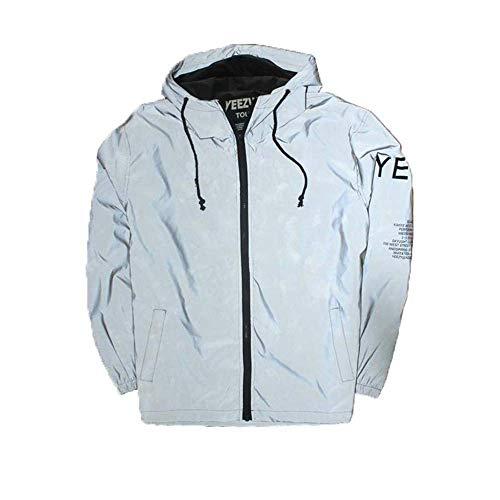 LXD Outdoor Sport Reflektierende Jacke für Radfahren Laufen Joggen Reiten Brief Drucken Langarm Hoodie Casual Hiphop Windjacke Nacht Sport Mantel Outwear,Grau,Mittel