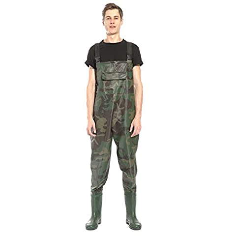 Camo Camouflage 100% Waterproof PVC Fishing Chest Waders Fly Coarse Fishing Muck Wader Size 9-11