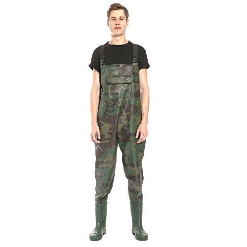 CLE DE TOUS - PVC Bota Transpirable Pecho Vadeadores de Pesca Pantalones de Pesca Talla 42 43 44 Impermeable Camuflaje (11 (45))