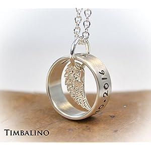 Silberkette mit Ring und Engelsflügel, Wunschgravur
