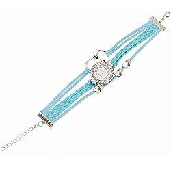 Pinzhi Womens Unique Quartz Wrist Watches Vintage Weave Wrap Leather Heart Shape Bracelet
