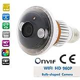 Balscw-J IP-Sicherheitsnetzwerkkamera, Kamerabirne HD 960P Wi-Fi-Lampe mit drahtlosem Weißlichtsensor mit Zwei-Wege-Audio, Bewegungserkennung, Aktivitätsalarm