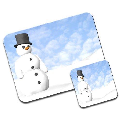 Pupazzo di neve su blu gelido inverni giorno Premium Mousematt & sottobicchieri