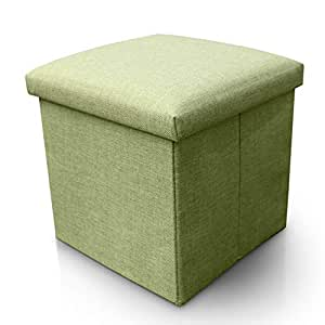 Sterling Stools for Sitting in Living Room Storage Stools for Sitting Storage Box for Toys of Kids - Linen Material Green Color Foldable Stool (38 x 38 x 38 cm)