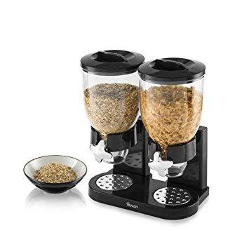 Swan Doble dispensador de Cereales, Negro, 3,5L