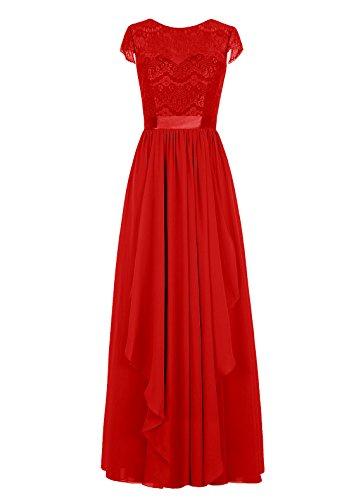 Dresstells, Robe de soirée, robe de cérémonie, robe longue de demoiselle d'honneur Rouge
