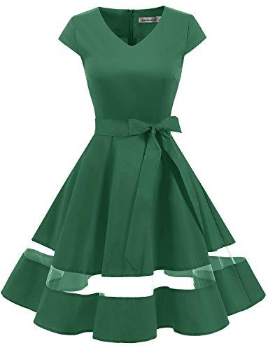 Gardenwed Damen Vintage 1950er Retro Rockabilly Festliches Kleid Cocktailkleider PartyKleid Green S