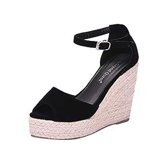 Junjie Frauen Elegant Schwarz Schuhe mit Absatz Vintage Wildleder Sandalette Mode High Heels Schuhe für Frühling Mädchen Sommer Sandalen Party Wedding Hochzeitsschuhe