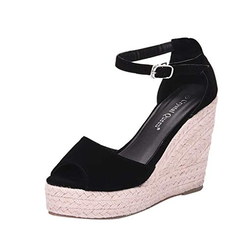 LILIGOD Frauen Große Sandalen mit Keilabsatz Böhmischen Peep Toe Sandale Hanfseil Plattform Sandale Wedges Schuhe Mode Elegant Party Kleid Schuhe High Heels Herde Super High Heels