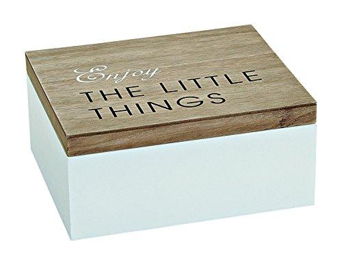 Holzbox mit Deckel-'Enjoy THE LITTLE THINGS', Holzkiste, Dekobox, Aufbewahrungsbox, Holz weiß/braun Enjoy
