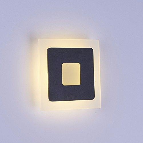 Ehime Applique murale acrylique carré led lampe chambre salon escalier moderne minimaliste de la création du corridor de lumière murale hotte noir