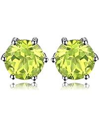 c85621fc27d7 JewelryPalace 1ct piedra redonda natural piedras preciosas Amethyst Citrine  Garnet Peridot Topacio 925 pendientes de plata