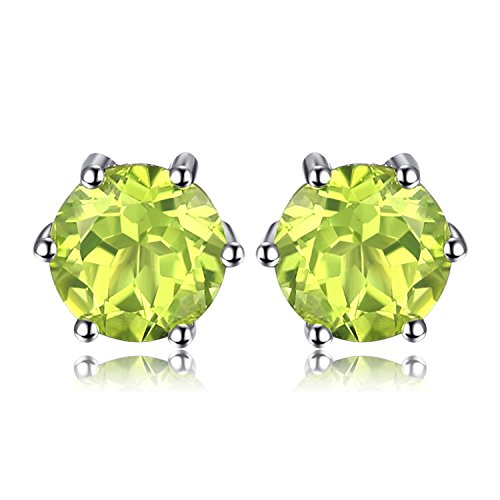 JewelryPalace Round 1.1ct Natürliche Peridot Ohrstecker Solid 925 Sterling Silber
